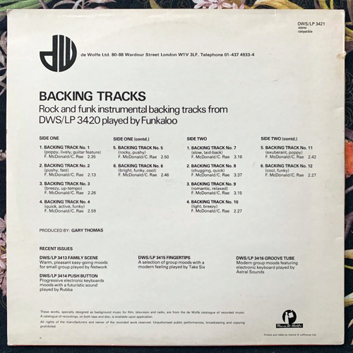 FUNKALOO Backing Tracks (Music De Wolfe - UK original) (VG+) LP