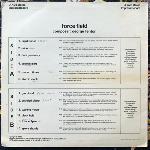 GEORGE FENTON Force Field (Impress - UK original) (VG/EX) LP
