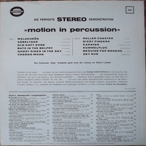"HOLLYWOOD ""POPS"" ORCHESTRA Motion In Percussion (Somerset - Germany original) (VG/EX) LP"
