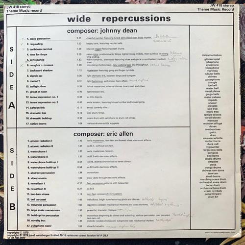 JOHNNY DEAN, ERIC ALLEN Wide Repercussions (JW Theme Music - UK original) (VG+/EX) LP