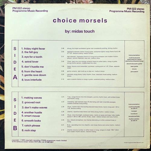 MIDAS TOUCH Choice Morsels (Programme Music - UK original) (VG+/EX) LP