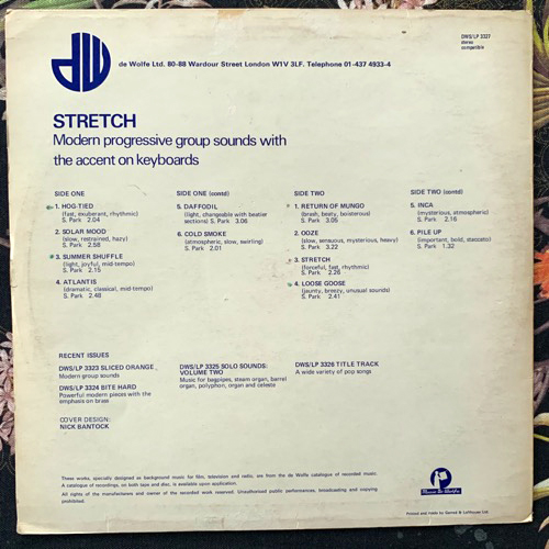 SIMON PARK Stretch (Music De Wolfe - UK original) (VG/VG-) LP