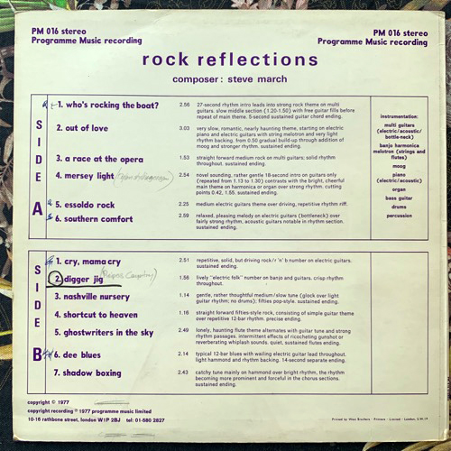 STEVE MARCH Rock Reflections (Programme Music - UK original) (VG+) LP