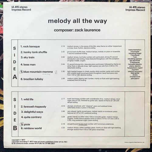 ZACK LAURENCE Melody All The Way (Impress - UK original) (VG+) LP