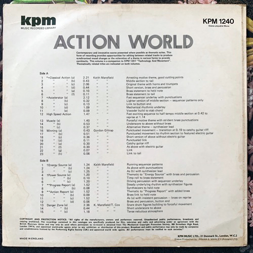 VARIOUS Action World (KPM - UK original) (VG/EX) LP