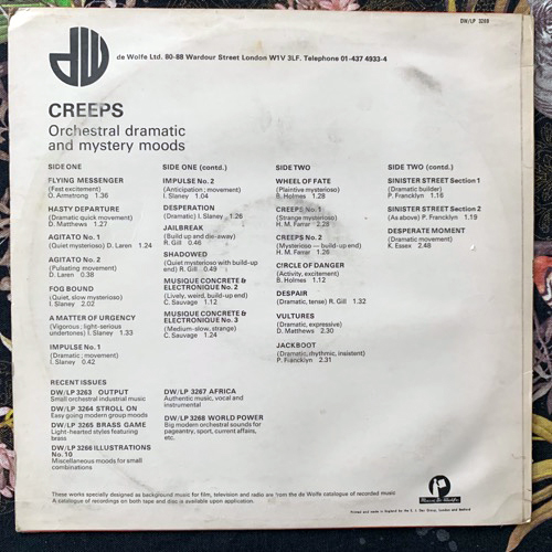 VARIOUS Creeps (Music De Wolfe - UK original) (VG/VG+) LP