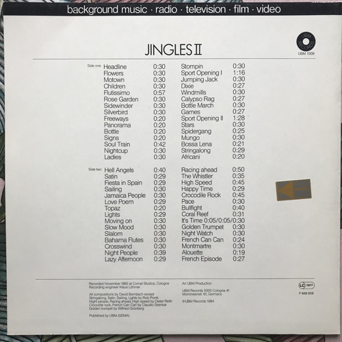 VARIOUS Jingles II (UBM - Germany original) (VG+/EX) LP