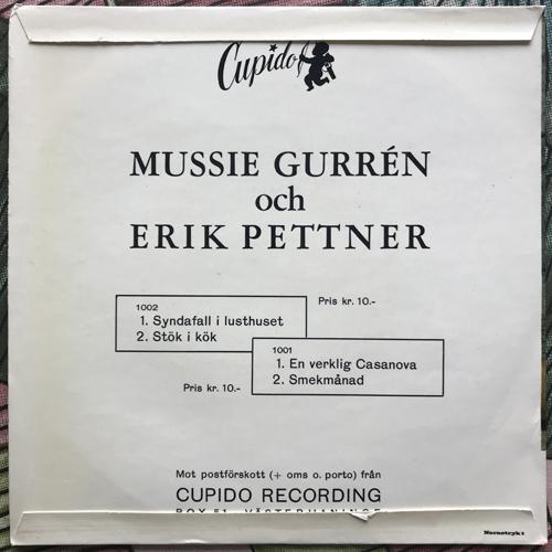 """MUSSIE GURRÉN OCH ERIK PETTNER En verklig Casanova (Cupido - Sweden original) (VG+/VG-) 7"""""""