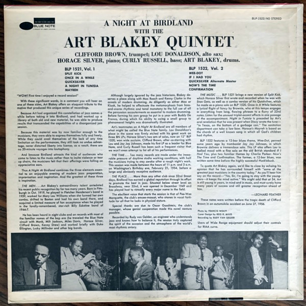 ART BLAKEY QUINTET A Night At Birdland, Volume 2 (Blue Note - USA 1963 mono repress) (VG+) LP