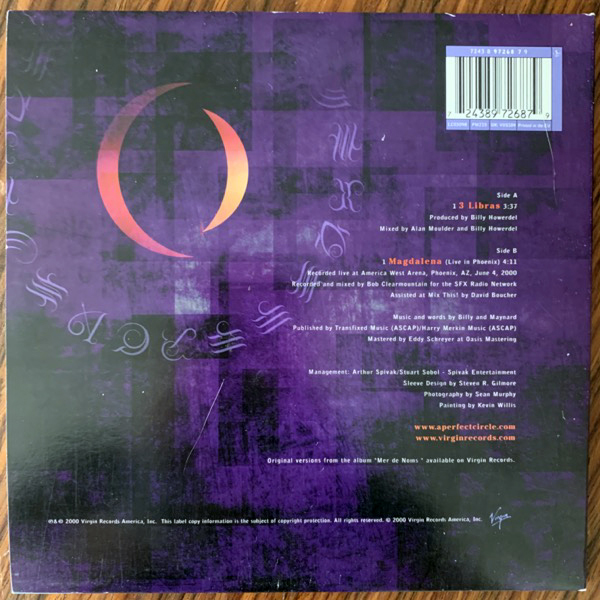 A PERFECT CIRCLE 3 Libras (Virgin - UK original) (VG+) 7""