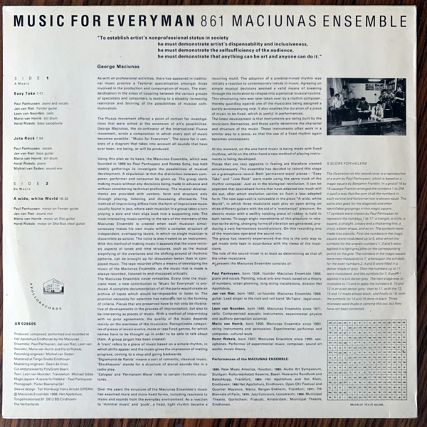 MACIUNAS ENSEMBLE Music For Everyman 861 (Apollo - Holland original) (EX) LP