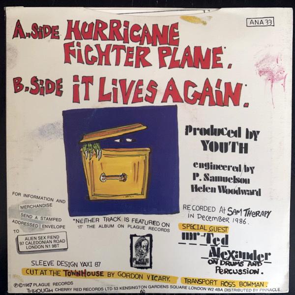 """ALIEN SEX FIEND Hurricane Fighter Plane (Anagram - UK original) (VG+) 7"""""""