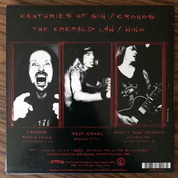 "PROBOT Centuries Of Sin (Southern Lord - USA original) (VG+/EX) 7"""