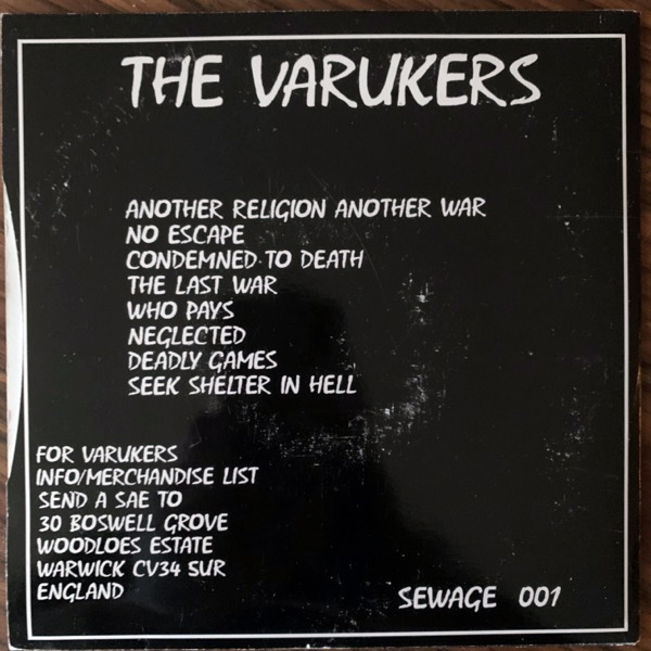 """VARUKERS, the Another Religion Another War (Sewage - UK reissue) (VG) 2x7"""""""
