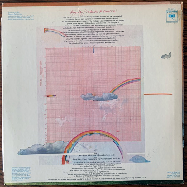 TERRY RILEY A Rainbow In Curved Air (Columbia - USA original) (VG-/VG+) (NWW List) LP