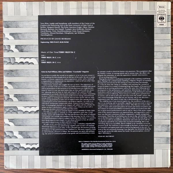 TERRY RILEY In C (CBS - UK original) (VG+) (NWW List) LP