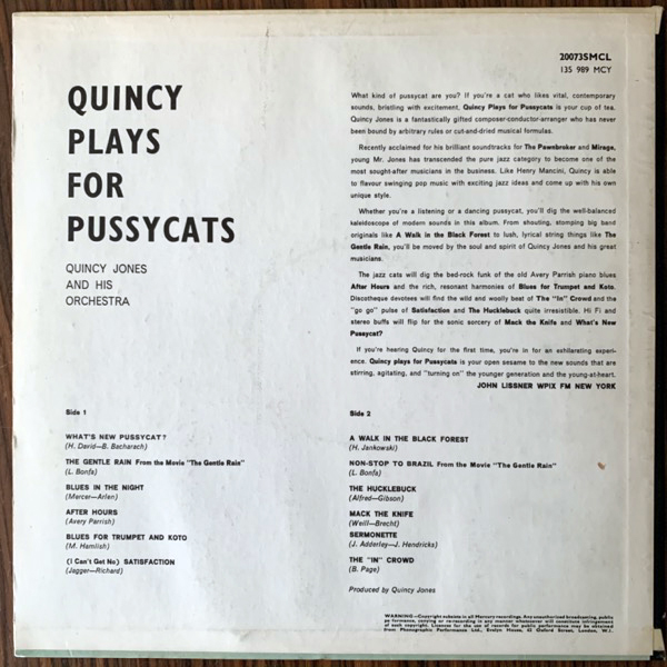 QUINCY JONES AND HIS ORCHESTRA Quincy Plays For Pussycats (Mercury - UK original) (VG+/VG) LP