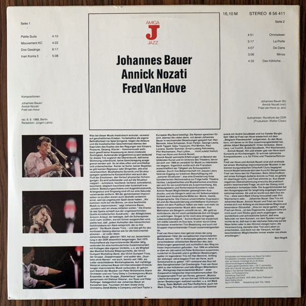 JOHANNES BAUER, ANNICK NOZATI, FRED VAN HOVE Johannes Bauer Annick Nozati Fred Van Hove (Amiga - German Democratic Republic original) (VG+/EX) LP