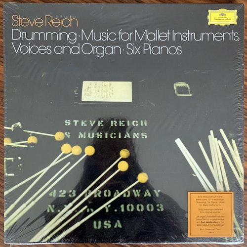 STEVE REICH Drumming / Music For Mallet Instruments, Voices And Organ / Six Pianos (Deutsche Grammophon - Germany reissue) (SS) 3LP BOX