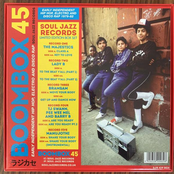 "VARIOUS Boombox 45 (Early Independent Hip Hop, Electro And Disco Rap 1979-82) (Soul Jazz - UK original) (NM) 5x7"" BOX"