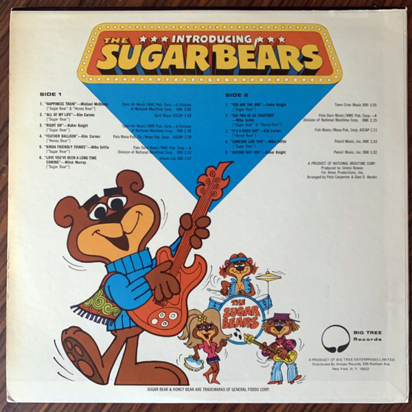 SUGAR BEARS, the Presenting The Sugar Bears (Big Tree - USA original) (VG+) LP