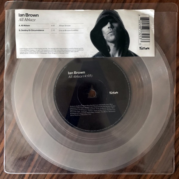 IAN BROWN All Ablaze (Clear vinyl) (Fiction - UK original) (VG+/EX) 7""
