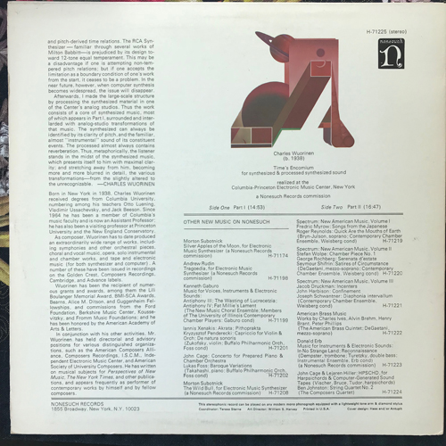 CHARLES WUORINEN Time's Encomium (For Synthesized & Processed Synthesized Sound) (Nonesuch - USA original) (VG+/EX) LP