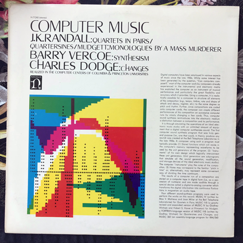 J.K. RANDALL, BARRY VERCOE, CHARLES DODGE Computer Music (Nonesuch - USA original) (VG+) LP