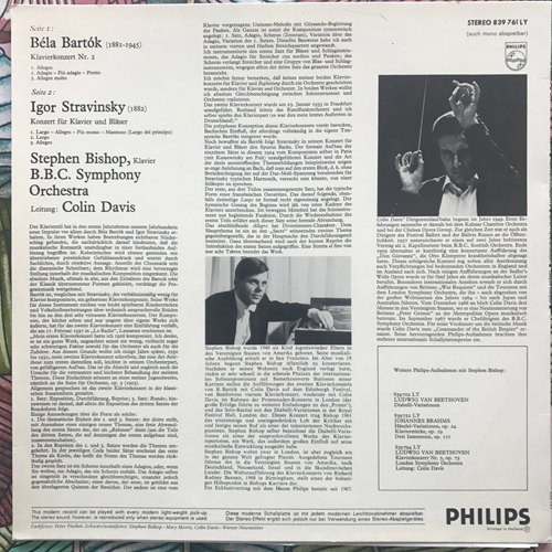 STEPHEN BISHOP, COLIN DAVIS Bartok, Stravinsky - Piano Concerto No. 2 - Concerto For Piano And Wind (Philips - Holland original) (VG+/NM) LP