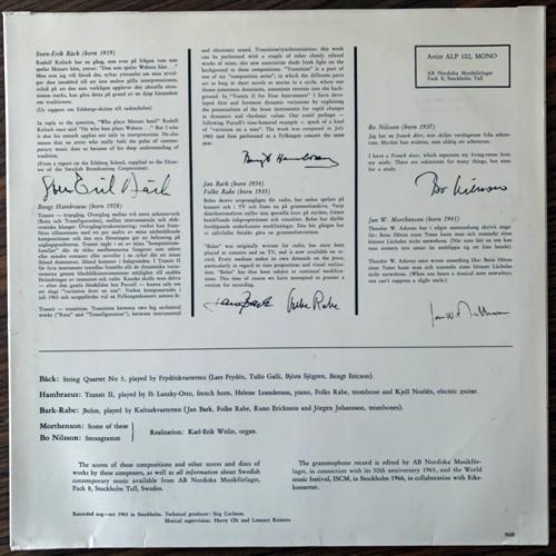 SVEN-ERIK BÄCK, BENGT HAMBRAEUS, JAN BARK, FOLKE RABE, BO NILSSON, JAN W. MORTHENSON Svenskt 60-Tal: Swedish Music From The Sixties (Artist - Sweden original) (VG+/VG) LP