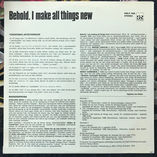 SVEN-ERIC BÄCK, INGVAR LIDHOLM, BENGT HAMBRÆUS Behold, I Make All Things New (SR - Sweden original) (EX/VG+) LP