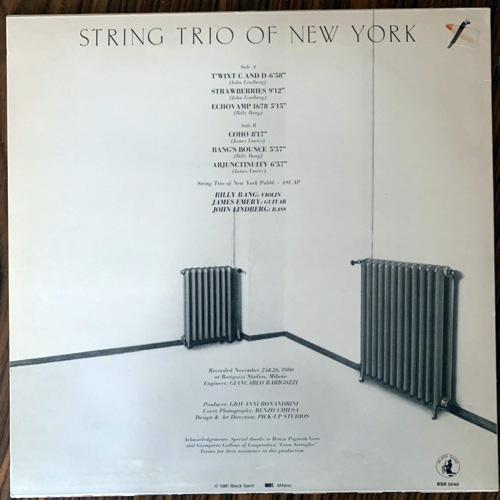 STRING TRIO OF NEW YORK Area Code 212 (Black Saint - Italy original) (VG+/NM) LP
