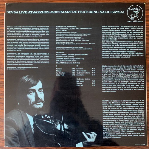 SEVDA Live At Jazzhus Montmartre (Caprice - Sweden original) (VG+) LP