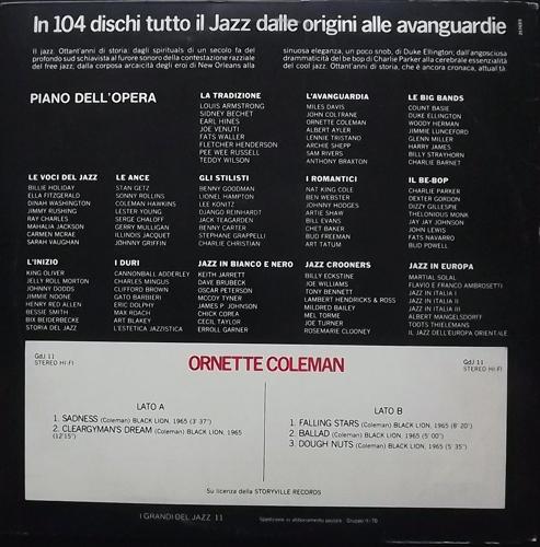 ORNETTE COLEMAN I Grandi Del Jazz (Fabbri Editori - Italy repress) (VG+/EX) LP
