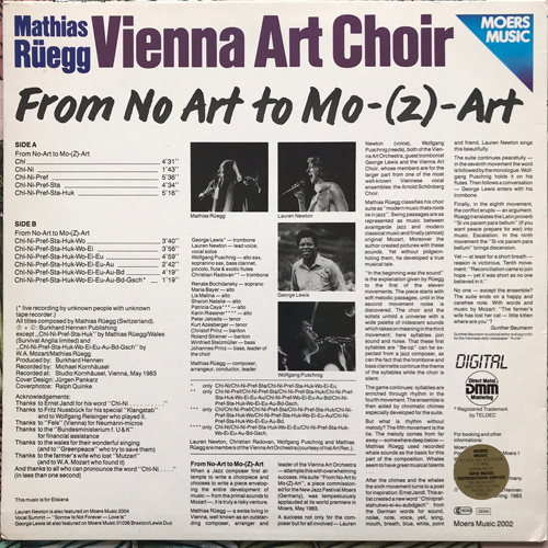 MATHIAS RÜEGG, VIENNA ART CHOIR From Art To Mo-(Z)-Art (Moers - Germany original) (VG+/EX) LP