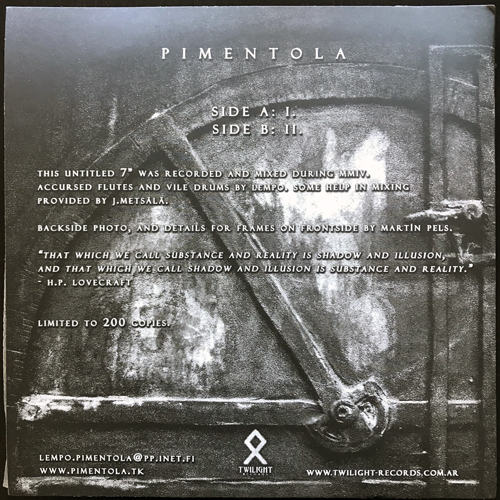 "PIMENTOLA Pimentola (Clear vinyl) (Twilight - Argentina original) (EX) 7"""