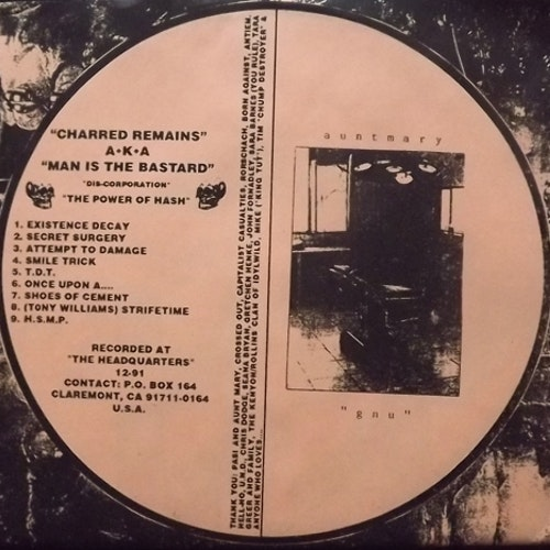CHARRED REMAINS A.K.A. MAN IS THE BASTARD/AUNT MARY Split (Orange vinyl) (Deep Six - USA reissue) (EX) 7""