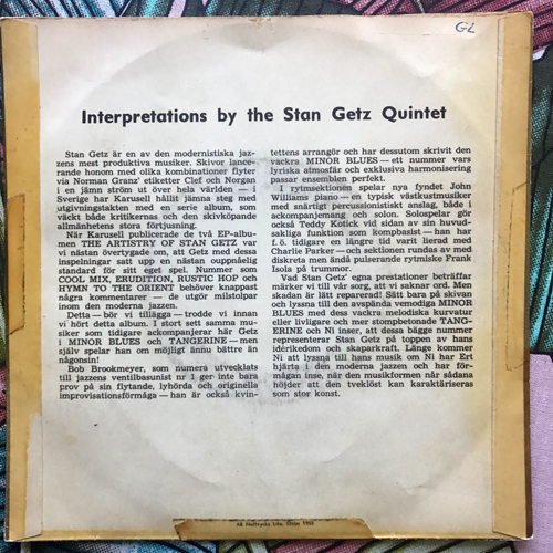 STAN GETZ QUINTET Interpretations By The Stan Getz Quintet 2 (Karusell - Sweden original) (VG-) 7""
