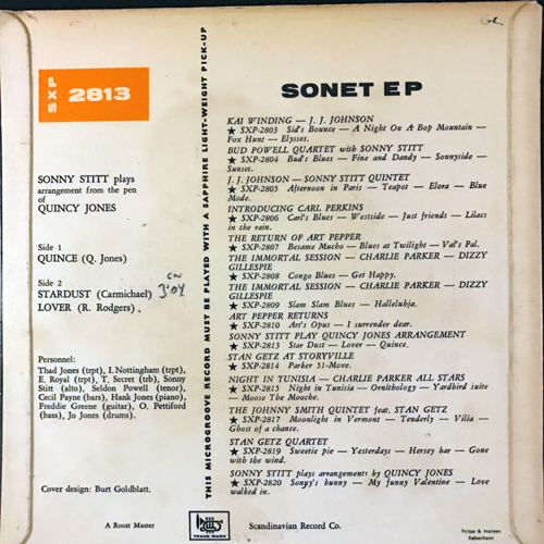 SONNY STITT Plays Arrangements From The Pen Of Quincy Jones (Sonet - Sweden original) (VG/G) 7""