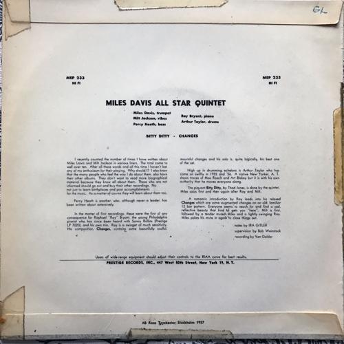 "MILES DAVIS Miles Davis And Milt Jackson All Star Quintet (Metronome - Sweden original) (VG-/VG) 7"""