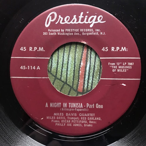 "MILES DAVIS QUARTET A Night In Tunisia (Prestige - USA original) (VG) 7"""