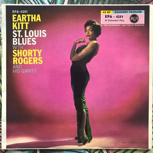 """EARTHA KITT WITH SHORTY ROGERS AND HIS GIANTS St. Louis Blues (RCA - Germany original) (VG+/VG-) 7"""""""