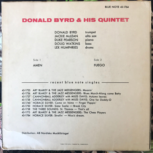 DONALD BYRD Amen (Blue Note - Sweden original) (VG/VG-) 7""
