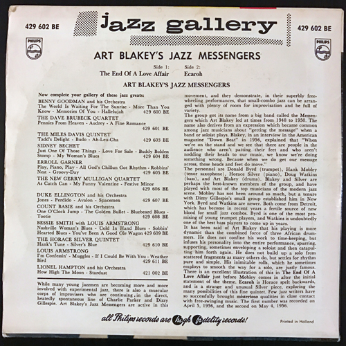 ART BLAKEY'S JAZZ MESSENGERS The End Of A Love Affair (Philips - Holland original) (VG/VG+) 7""