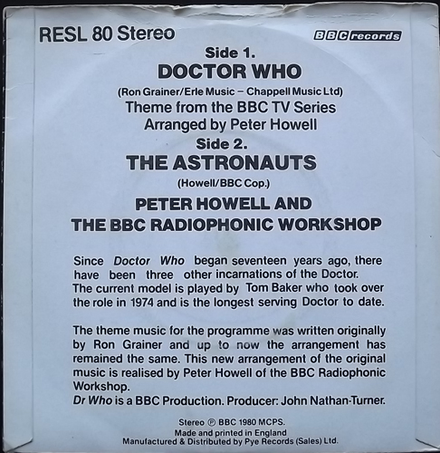 SOUNDTRACK Peter Howell And The BBC Radiophonic Workshop ‎– Doctor Who (BBC - UK original) (G/VG) 7""