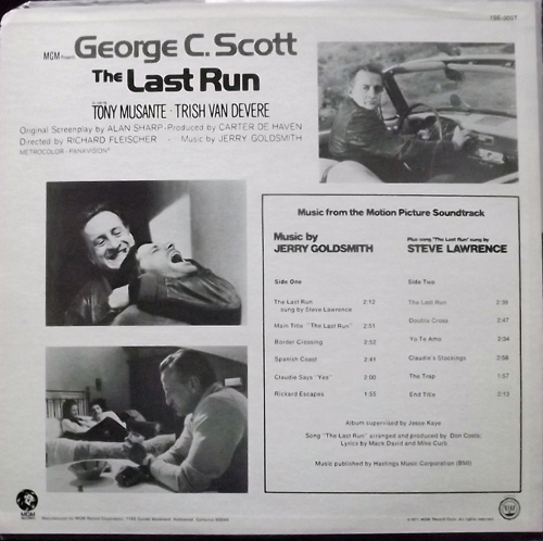 SOUNDTRACK Jerry Goldsmith ‎– The Last Run (MGM - USA original) (VG/VG+) LP