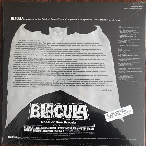 SOUNDTRACK Gene Page - Blacula (RCA - USA reissue) (NM/EX) LP