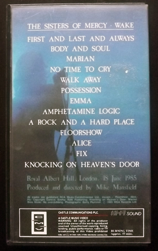 SISTERS OF MERCY, the Wake - In Concert At The Royal Albert Hall (CMV - Europe original) (EX) VHS