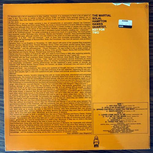 HAMPTON HAWES, MARTIAL SOLAL Key For Two (BYG - France original) (VG+) LP