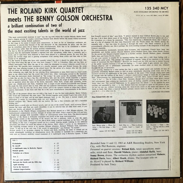 ROLAND KIRK QUARTET, the The Roland Kirk Quartet Meets The Benny Golson Orchestra (Mercury - Holland original) (VG+) LP